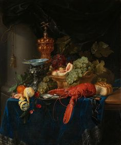 Still Life with Golden Goblet, Pieter de Ring, 1640 - 1660 - Rijksmuseum Gold Metal Wall Art, Contemporary Metal Wall Art, Gold Art, Metal Art, Baroque Painting, Large Painting, Art Through The Ages, Fine Art Prints, Canvas Prints