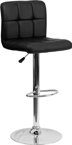 Flash Furniture 2-Pack Contemporary Quilted Vinyl Adjustable Height Bar Stool with Chrome Base, Black