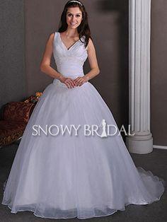 Ball Gown Long Organza V Neck Sleeveless Corset Dropped Wedding Dress - US$ 167.39 - Style W0014 - Snowy Bridal