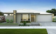 Modern rendered facade with light Colorbond roof and garage door, soft greeny-beige on the walls and white window frames.