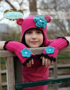 Bear Ear Flap - Bright Pink, Country Pink, Turquoise, Black, White-Crochet, hat, beanie, flower, soft, fashion, boutique, kids, women, accessory, gift, holiday, winter, girl, baby, fiber, yarn, hot pink, ear flap, earflap, warm, braids, helmet hat, teddy, teddy bear, bear, ears, diamond, bling, gem, hot pink, blue