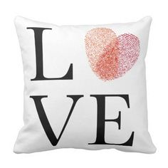 Love with red fingerprint heart throw pillow
