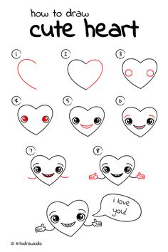 Easy heart drawings step by step how to draw cute heart. Easy Pencil Drawings, Easy Heart Drawings, Easy Drawings Sketches, Disney Drawings, Pencil Art, Skull Drawings, Love Drawing Images, Cute Drawings Of Love, Drawing Videos For Kids