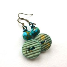 Turquoise Aqua Watercolor Vintage Button Earrings -Unique Jewelry by buttonsoupjewelry on etsy