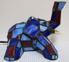 Stained Glass Elephant Blue Red Animal Electric Lamp Night Light Up Whimsical