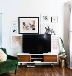 Gallery wall around a TV
