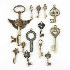 26pcs 142738 New Wholesale Assorted Keys Vintage Bronze Alloy Pendants Findings