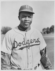 Jackie Robinson in his Brooklyn Dodgers Uniform, 1950, from the Records of the U.S. Information Agency