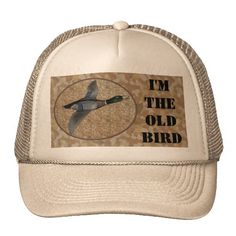 Funny Duck Bird Hunter Hunting Birthday Party Hat  This funny old bird duck hunter hat features a flying mallard duck with a brown and tan camo background. Personalize this unique wildlife celebrations hat for your outdoors man, sportsman or hunting guide big over the hill birthday party! Great for a 20th , 30th , 40th , 50th , 60th , 70th birthday or any other age! #duckhunter #camouflage #funny #oldbird #overthehill