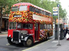 Chelsea Flower Show ..Old Routemaster double decker in Chelsea Flower show livery!