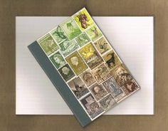 Upcycled Postage Stamp Notebook 51  Original by TangleCrafts