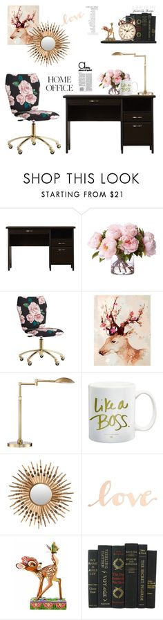 """Home Office: The Secret Garden"" by random11-1 ❤ liked on Polyvore featuring interior, interiors, interior design, home, home decor, interior decorating, PBteen, Possini Euro Design, Safavieh and Primitives By Kathy"