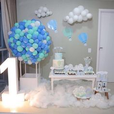 Hot air balloon theme party. First birthday themes