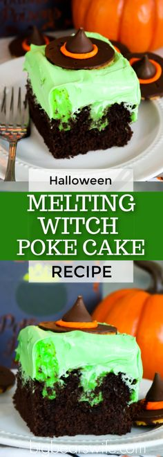 classic southern dessert is turned into a wickedly wonderful Halloween treat with this easy Melting Witch Poke Cake!A classic southern dessert is turned into a wickedly wonderful Halloween treat with this easy Melting Witch Poke Cake! Halloween Desserts, Plat Halloween, Postres Halloween, Recetas Halloween, Halloween Dishes, Fete Halloween, Halloween Food For Party, Halloween Treats, Halloween Camping