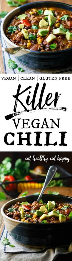 Hold on to your spoon, 'cause this is some killer vegan chili! Great for healthy meal prep - it has that spicy, slow-cooked flavor you'll love coming home to! Lots of fiber and plant protein to keep you full and feeling great! #vegan #vegetarian #gluten #dairy #free #clean #plant #meal #prep #make #ahead #best #chili #meatless #diet #healthy #protein
