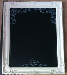 Homemade chalkboard sign - picture frame, black foam board and 'chalk' pens