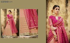 Feel like a princess in this stunning peach-pink lehenga choli, accentuated with heritage butti work and pretty parrot motifs. The bright Indian fuchsia coloring of blouse and rich jacquard duppatta gets duly toned down by the classy, understated charm of the color-blocking effect of this magnificent designer apparel – with dull gold and matching threads embroidery. The Persian applique work inspired effect on duppatta makes this a must-have ensemble!