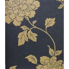 Kenneth James Salon Wallpaper Design - Navy Floral