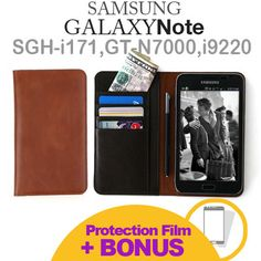 Genuine Leather SAMSUNG GALAXY NOTE Phone FLIP COVER CASE N7000 i9220 i717:BROWN
