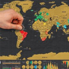 New Deluxe Travel Edition Scratch Off World Map Poster Personalized Journal Map #travel #photography #nature #photo #vacation #photooftheday #adventure #landscape