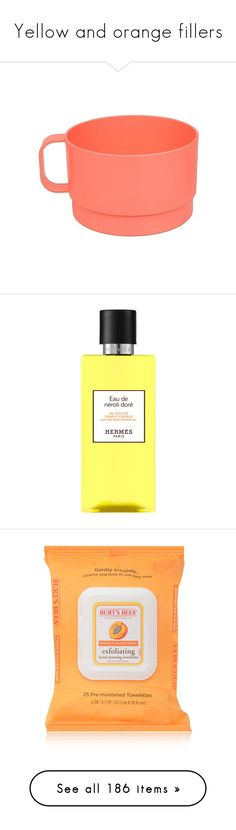 """""""Yellow and orange fillers"""" by karineminzonwilson ❤ liked on Polyvore featuring home, kitchen & dining, georgia peach, stacking mug set, room essentials, beauty products, bath & body products, body cleansers, beauty and filler"""