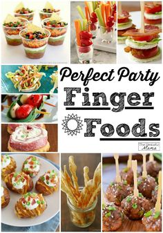 15 BEST Party Finger Foods: Yummy! I tried the shot glass veggie sticks and they were a huge hit (normally my veggie tray never gets touched - haha!). Can't wait to try the rest of these snack ideas at my next party!