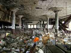 abandoned places... this one is fire-licked and looking upside-downish.