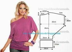 PASSO A PASSO MOLDE DE BLUSA Corte um retângulo de tecido com a altura e largura que pretende para as costas. Dobre ao meio o retângulo. Desenhe o decote,