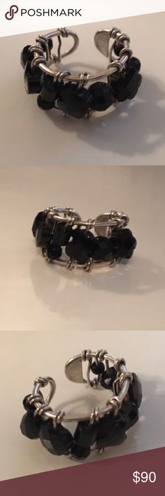Authentic Tous Ring Sterling Silver Tous Color Ring with onyx Tous Jewelry Rings
