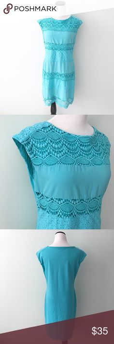 The Limited Blue green aqua Eyelet Dress Beautiful spring dress. Has eyelet and crocheting on front. Some piling on back of dress, can easily be removed. The Limited Dresses