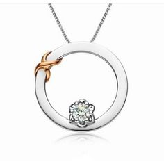 Infinity Necklace Circle Diamond Pendant 10K white gold with  sterling silver chain - Jewel Ocean Jewelry