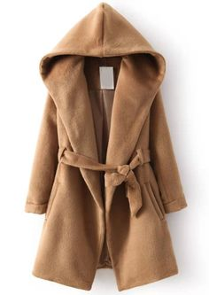 Khaki Hooded Long Sleeve Belt Coat 60.00