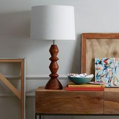 Stacked Wood Table Lamp #WestElm - great simple modern look for the office - would bring in a warm wood tone - $105!!