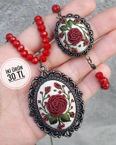 Embroidery Jewelry Set Bridesmaid Gift Bridal Wedding Gift for Mother Graduation Teacher Delicate Ne - Salvabrani Hand Embroidery Flowers, Embroidery Jewelry, Hand Embroidery Patterns, Ribbon Embroidery, Embroidery Stitches, Polymer Clay Embroidery, Polymer Clay Flowers, Mother Gifts, Jewelry Findings