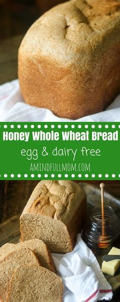 Homemade Honey Whole Wheat Bread: After one bite of this tender whole wheat bread recipe you will never go back to store-bought bread again! This is an EASY recipe for whole wheat bread your family will fall in love with. Directions for making whole Whole Wheat Bread Machine Recipe, Bread Machine Wheat Bread Recipe, 100 Whole Wheat Bread, Honey Wheat Bread, Bread Machine Recipes, Whole Wheat Bread Recipe Vegan, Easy Vegan Bread Recipe, Wholemeal Bread Recipe, Healthy Homemade Bread