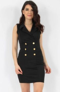 Tailored Sleeveless Blazer Dress black