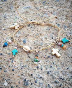 Χειροποίητο βραχιολακι με κοχύλια και πολύχρωμες χάντρες Handmade Bracelets, Turquoise Necklace, Charmed, Jewelry, Jewlery, Bijoux, Teal Necklace, Jewerly, Jewelery