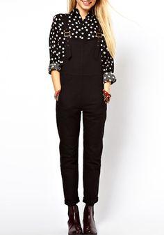 Black Plain Low Waist Cotton Blend Jumpsuit Pant