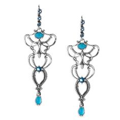 Carolyn Pollack Sleeping Beauty Turquoise and Blue Topaz Earrings