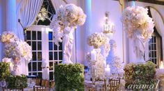 Custom Grecian statues were designed for this one-of-a-kind wedding! We absolutely love the freshness of the antique hydrangea against all that white! Grecian Wedding, Wedding Day, Future Days, Wedding Decorations, Table Decorations, Centre Pieces, Hydrangea, Wedding Flowers, Bridal Shower