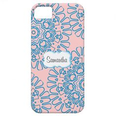 Pretty Blue Pink Flower Heart Pattern Personalized iPhone 5 Covers