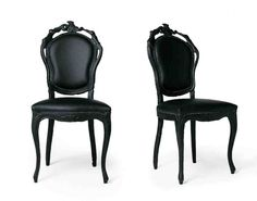 Contemporary Dining Chairs In Black Design Inspiration : Elegant French Italian Painted Black Dining Chair with Black Leather Chair and Black Carving Wood for Home Interior Design Inspiration Painted Dining Chairs, Cheap Dining Room Chairs, Dining Room Furniture Sets, Black Leather Chair, White Leather Dining Chairs, Black Dining Chairs, Black Dining Room Sets, Contemporary Dining Chairs, Contemporary Design