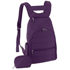 """Lug Parachute Mini Backpack, Plum Purple, One Size . List Price: $66.00 Price: $50.04 .      100% Polyester     Imported     Nylon lining     Zipper closure     15"""" high     10"""" wide     Shoulder strap length: 32""""      Four small exterior pockets     Made in China"""
