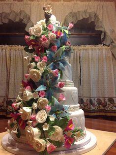 Wedding Cake blue lilies