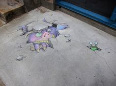 Since 2001, artist and illustrator David Zinn has stalked the streets of Ann Arbor, Michigan, creating temporary illustrations with chalk and charcoal. Zinn improvises each piece on the spot and makes use of found objects, street fixtures, and stairsteps to create trompe l'oeil illusions.