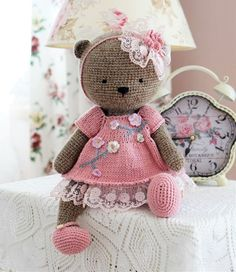 Mixed Pattern Shabby Chic Outfit For Big Teddy Bear Toy By Polushkabunny Patterns By Polushkabunny Knitting And Crochet - Amigurumi Crochet Teddy Bear Pattern, Crochet Headband Pattern, Crochet Patterns Amigurumi, Amigurumi Doll, Crochet Dolls, Shabby Chic Outfits, Big Teddy Bear, Teddy Bear Toys, Booties Crochet
