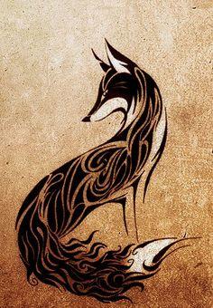 http://tattoomagz.com/great-design-fox-tattoos/black-and-white-fox-tattoos/