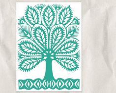 Polish Paper Cutting - Teal Tree Silhouette by bialakura Teal Nursery, Nursery Decor, Paper Cutting Patterns, Paper Art, Cut Paper, Tree Silhouette, Creative Inspiration, Folk Art, Stencils
