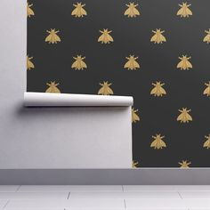 Isobar Durable Wallpaper featuring Napoleonic Bees ~  Gilt on Blackest Black by peacoquettedesigns | Roostery Home Decor