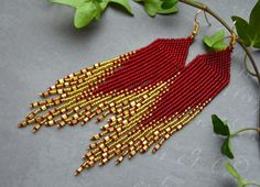 Long fringe beaded red gold earrings, seed bead earings Gold Red earrings Shining earrings Long beaded earrings Native earrings Seed bead earrings Chandelier earrings Gift for her Long, very beautiful and stylish earrings! Seed Bead Jewelry, Bead Jewellery, Seed Bead Earrings, Etsy Earrings, Gold Earrings, Fringe Earrings, Chandelier Earrings, Beaded Chandelier, Diy Jewelry